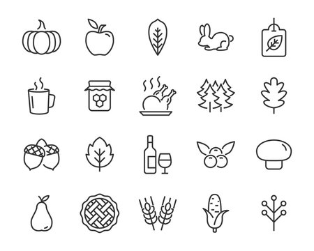 set of autumn icons, thanksgiving day, fall