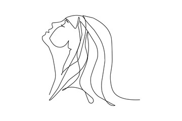 Continuous fashion one line drawing faces hair style concept. Beautiful minimalist women illustration
