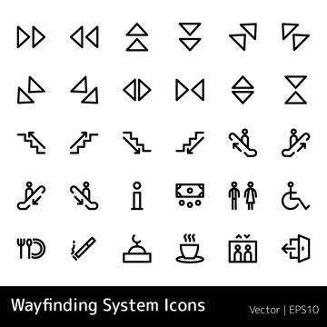 set of wayfinding system icons