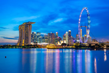 Wall Mural - Singapore city skyline at night with view of Marina Bay