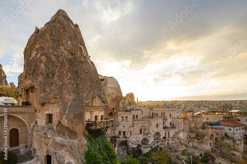 Wall mural Cappadocia cityscape skyline in Goreme, Turkey