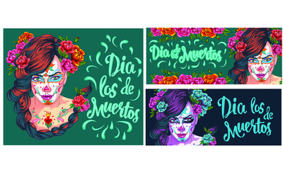 Day of dead, colorful banner and card with girl with traditional make-up and flowers in hair, Mexican holiday, sugar skull. Dia de los muertos party invitation. Vector illustration in flat style.