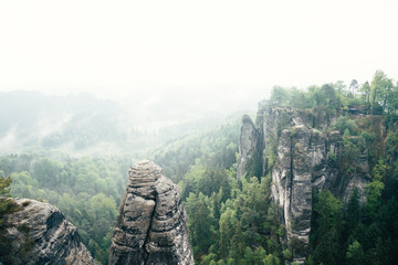 Wall Mural - Scenic image of Elbe Sandstone Mountains. Location Saxony Switzerland national park, East Germany, Europe.