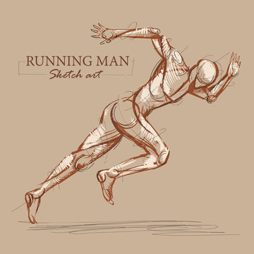 Brown toned modern stylised sketch of a running athletic man with a muscular body sprinting at speed leaning forwards into his stride, vector illustration.