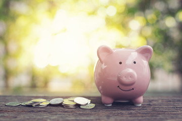 Pink piggy Bank with Coins on wood table in the public park.money saving financial concept.retro vintage color tone.