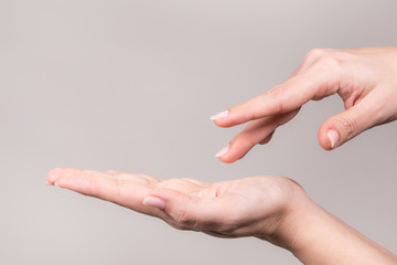 Closeup view of two beautiful manicured white female hands in gesture of empty hand supporting something invisible and pointing at virtual object with other hand. Horizontal color photography.