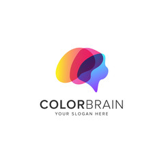 Color brain logo vector icon