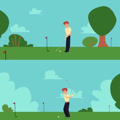 Cartoon man playing golf in summer field - happy golfer swinging a club