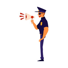 A policeman screams into a megaphone cartoon flat vector illustration isolated.