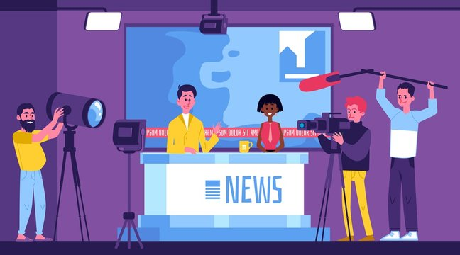 Tv news studio with presenters and crew with equipment cartoon vector illustration.