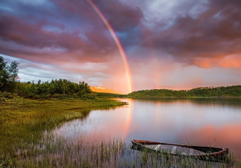 Two Minutes Past Midnight Norway Reeds Hills Sunset Sky Wildflowers Boats Calm Afternoon Forest Beautiful Rainbow River Clouds High Quality Picture