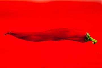 Aluminium Prints Hot chili peppers Red hot chili peppers on red background