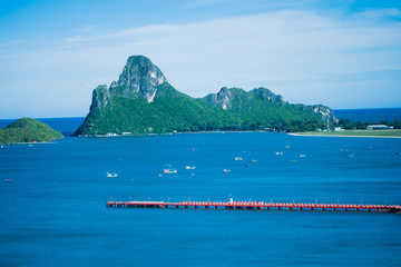The gulf of Prachuap Khiri Khan, Thailand with bay and mountain landscape