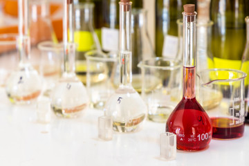 wine's laboratory with traditional and modern apparatus