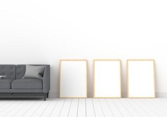 Three empty photo frame for mockup in modern living room, 3D render, 3D illustration