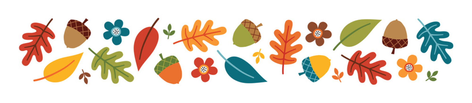 Vector autumn or fall banner with colorful autumn leaves, acorns and flowers, isolated on white. Cute kawaii border with seasonal elements in flat style for Thanksgiving, web or print advertising.