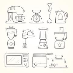 Hand drawn kitchen appliances