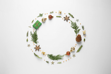 Fotobehang - Flat lay composition with Christmas items and space for text on white background