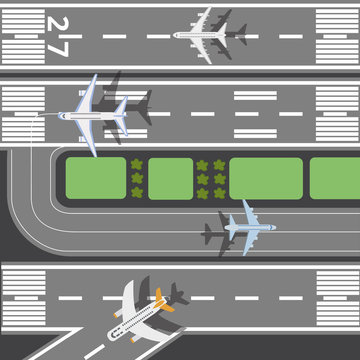 Airplanes on the runway of airport takeoff field flat vector illustration.