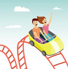 Couple on rollercoaster flat vector illustration on amusement park background.