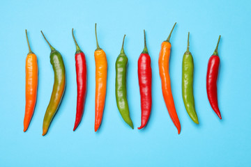 Canvas Prints Hot chili peppers Different hot chili peppers on blue background, flat lay