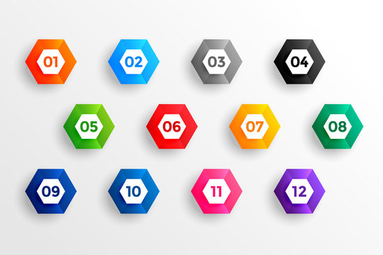 number bullet points in 3d hexagon shape from one to twelve