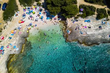 Kamenjak Njive beach near Premantura, Istria , Croatia. Aerial drone photo , summer 2019
