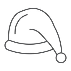 Santas hat thin line icon, costume and new year, santa claus cap sign, vector graphics, a linear pattern on a white background.