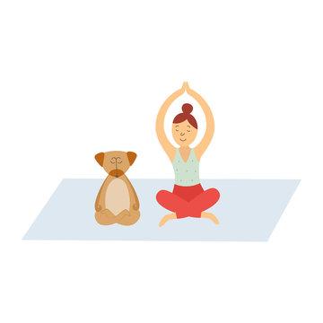 Cartoon woman and her dog meditating on yoga mat