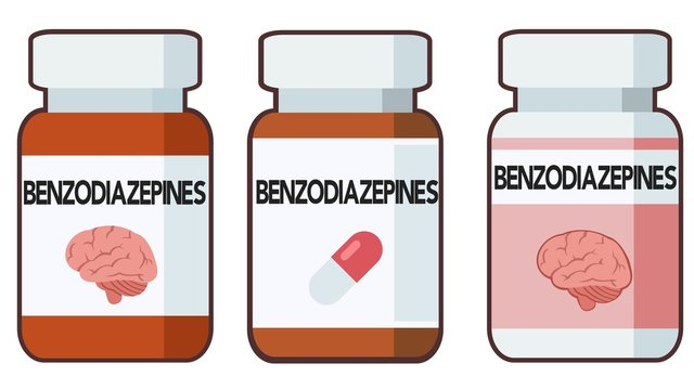 Benzodiazepines, bottle of pills