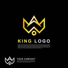 Modern king logo template. Premium gold color crown logo.