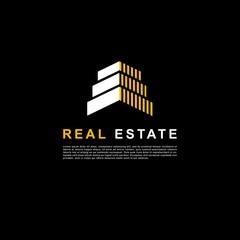 Creative design real estate logo. Building clean concept white and yellow color on black background.