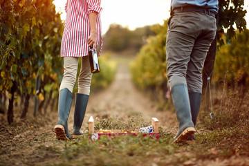Winegrower couple in vineyard tasting wine. Fototapete