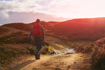 A hiker and their dog walking along a dirt track across Edmundbyers moor and sunset. Fototapete