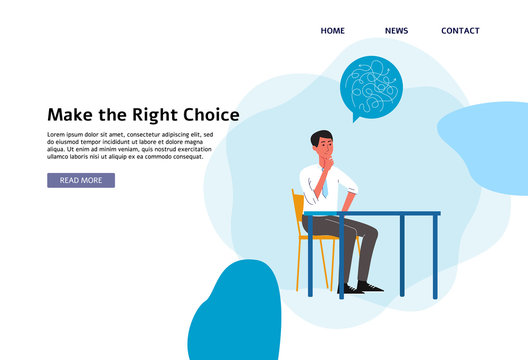 Make the right choice - flat banner of cartoon businessman thinking behind table