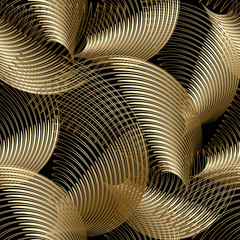 Gold luxury 3d abstract vector seamless pattern. Ornamental flowing swirl shapes background. Spiral line art tracery surface ornament. Textured geometric repeat backdrop. Modern striped spirals design