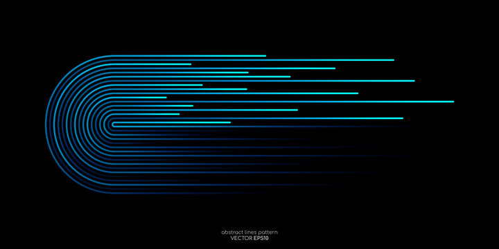 Vector half circles lines flowing dynamic pattern in blue green colors isolated on black background for concept of AI technology, digital, communication, science, music