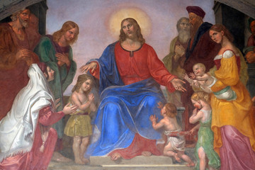 Jesus blesses the children, frescoed lunette, Ospedale degli Innocenti - Exterior arcade, Florence, Italy