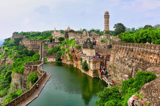 Gaumukh Kund - Ancient fort reservoir filled by a spring thought to look like a cow's mouth, popular for swimming, Chittorgarh, Rajasthan, India