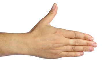 main tendue ou poignée de main, isolée sur fond blanc