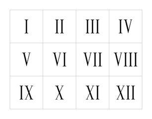 Set of roman numerals isolated on white background. Numbers concept. Design element for clock face, banners, posters.
