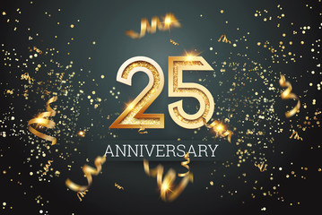 Golden numbers, 25 years anniversary celebration on dark background and confetti. celebration template, flyer. 3D illustration, 3D rendering