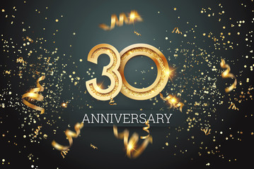 Golden numbers, 30 years anniversary celebration on dark background and confetti. celebration template, flyer. 3D illustration, 3D rendering