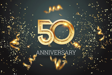 Golden numbers, 50 years anniversary celebration on dark background and confetti. celebration template, flyer. 3D illustration, 3D rendering