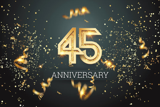 Golden numbers, 45 years anniversary celebration on dark background and confetti. celebration template, flyer. 3D illustration, 3D rendering