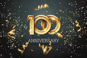 Golden numbers, 100 years anniversary celebration on dark background and confetti. celebration template, flyer. 3D illustration, 3D rendering