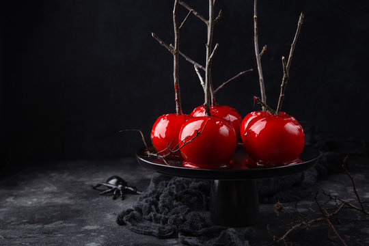 Halloween red caramelized candy apples