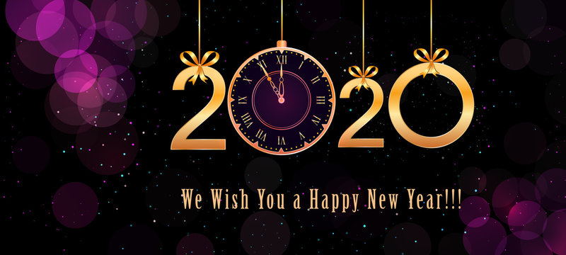 2020 Happy New Year text design with hanging golden numbers, ribbon bows and vintage clock on abstract purple background with bokeh effect, glitter. Holiday banner, poster template. End of the year
