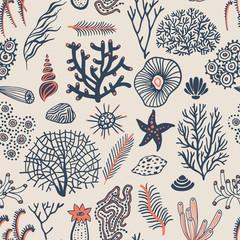 Sea set seamless pattern with seashells, corals, alga and starfishes. Marine background.