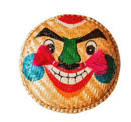 fun straw braided rice vietnam mask smile Home Decor isolated on white background